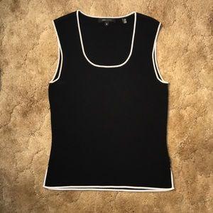 BCBG MAXARIA Black, White Trim, Sleeveless Sweater